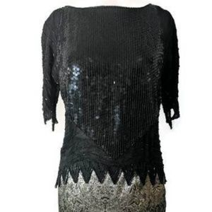 Tops - 1980s Vintage Witchy Black Sequin Top